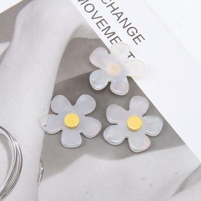 6 шт креативный японский стиль милые белые Волшебные прозрачные цветочные накладные серьги-подвески для девочек оптом ювелирные аксессуары