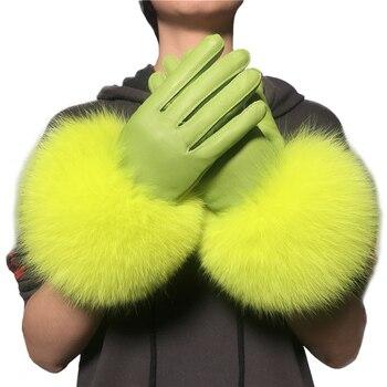 Wholesale Fox Fur Gloves Winter Female Luxury Style Warm Sheepskin Genuine Leather Driving Thickening Mitten - discount item  43% OFF Gloves & Mittens