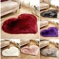 Длинный пушистый ковер в форме сердца  мягкий коврик для спальни  голубой  белый  розовый лохматый ковер  искусственная шерсть  овчина  детск...