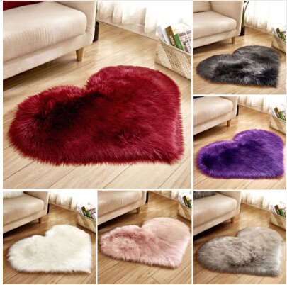 Love Heart Shape Fur Rugs Long Hairy Rug Bedroom Soft Area Mat Blue White Pink Shaggy Carpet Artificial Wool Sheepskin Baby Room