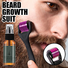 30ml conjunto de rolo de crescimento da barba barba kit de crescimento da barba dos homens essência de crescimento de nutrir enhancer barba spray de óleo cuidados com a barba
