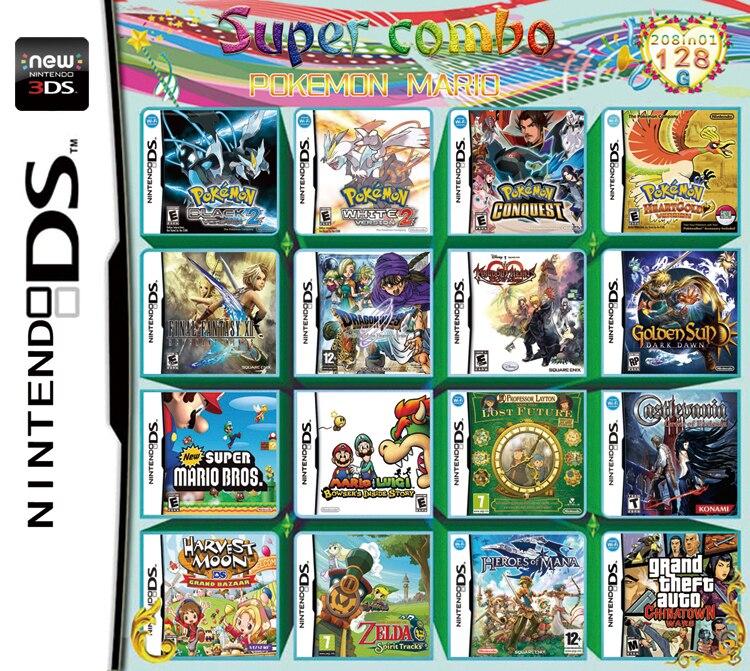 208 в 1 Покемон Марио видеоигры картридж мультиарт для Nintendo DS NDS NDSL NDSI 2DS 3DS US