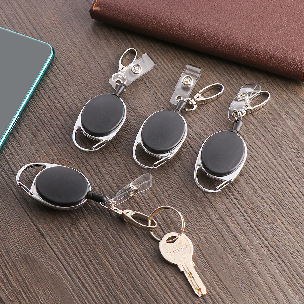 ID Card Lanyard Office Supplies Retractable Reel Traction Plate Name Tag Card Badge Support Reel Retractable Tape Key Chain Clip