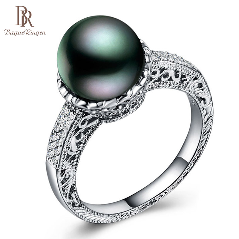 Bague Ringen European And American Silver 925 Jewelry Individual Character Gothic Vintage Style Pearl Ring For Masquerade Party