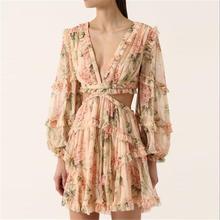 Banulin Fashion pink Designer Runway Dress Womens Hollow Out Ruffles Floral Print Chiffon Mini Sexy Backless Deep V neck