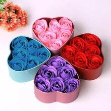 Coração perfumado banho corpo pétala rosa flor sabão decoração de casamento presente melhor caixa de lata com 6 sabão flores decoração de natal # hp