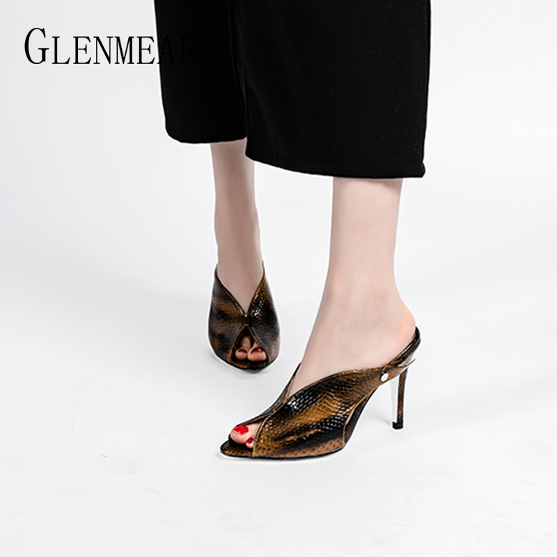 <font><b>Women</b></font> <font><b>Slippers</b></font> Mules <font><b>Shoes</b></font> <font><b>High</b></font> <font><b>Heels</b></font> Peep Toes <font><b>Sexy</b></font> Summer <font><b>Shoes</b></font> <font><b>Woman</b></font> Sandals Slip On Female Party <font><b>Shoes</b></font> Slides Plus Size 2020 image