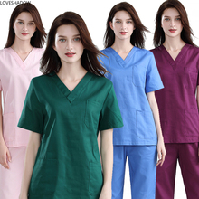 Women Medical Uniforms Short Sleeve Scrub Top Pure Potton V Neck Nurse Clothing Solid Color Work Clothes Side Vent Doctor Clinic