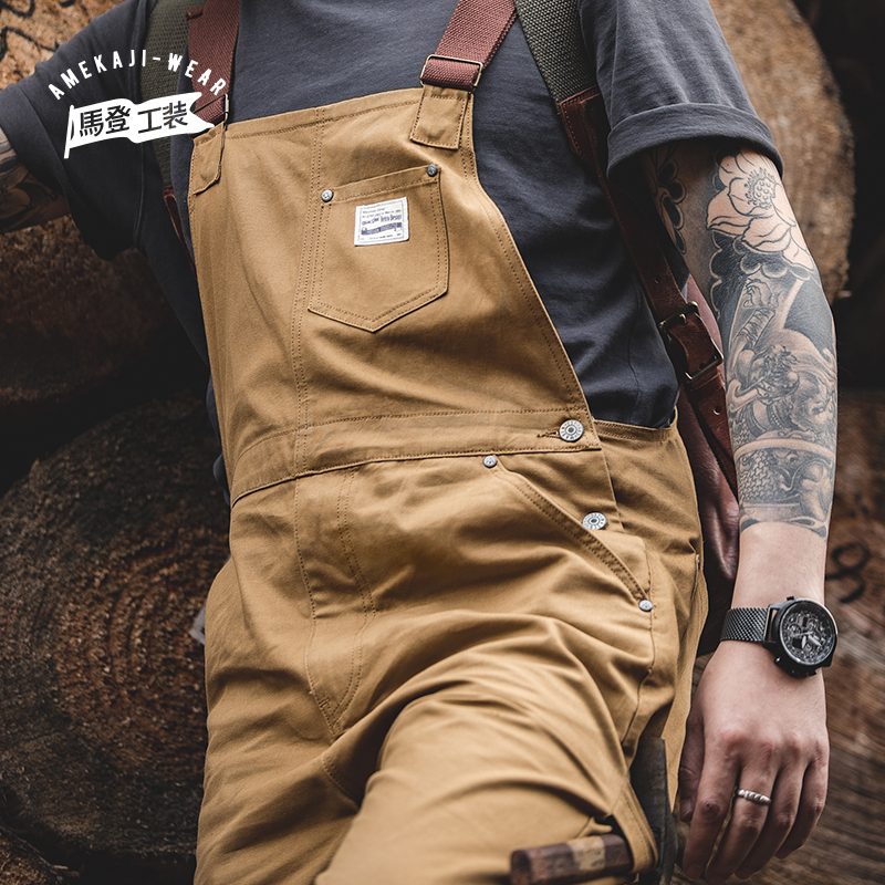 Maden Vintage Jeans Overalls Mens Jumpsuit Cargo Work Pants Baggy Bib Contrast Stitch Denim Overalls Stitch Trousers New