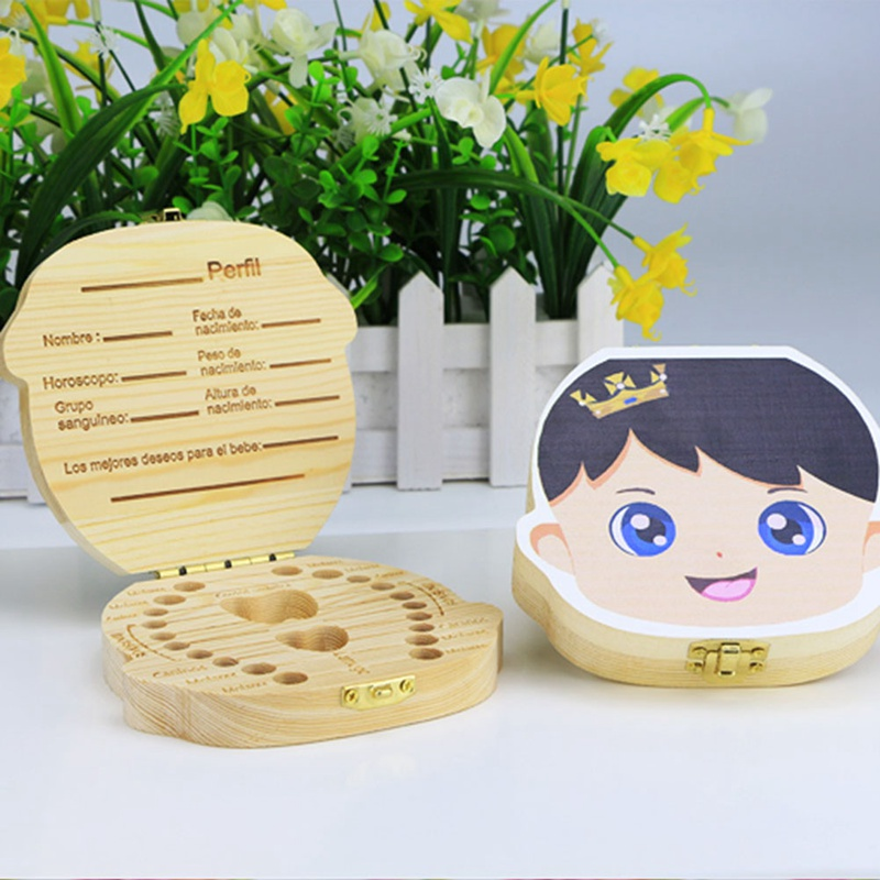 English/Spanish/Russian/German/French Wooden Baby Teeth Box Organizer Milk Teeth Umbilical Lanugo Save Storage Souvenirs Gifts