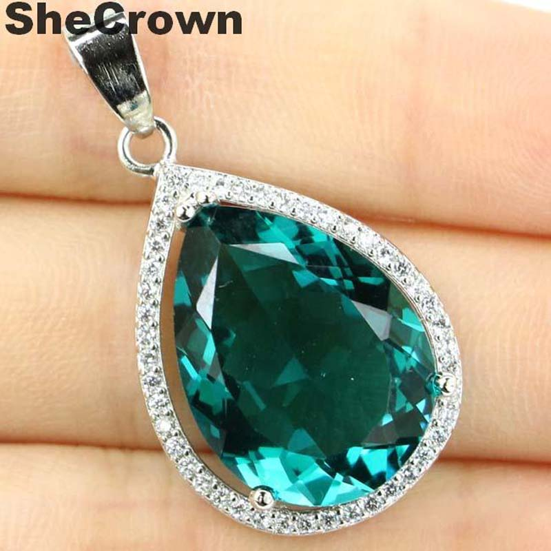 32x19mm Deluxe Big Drop Gemstone 20x15mm Blue Aquamarine White CZ Woman's 925 Silver Pendant