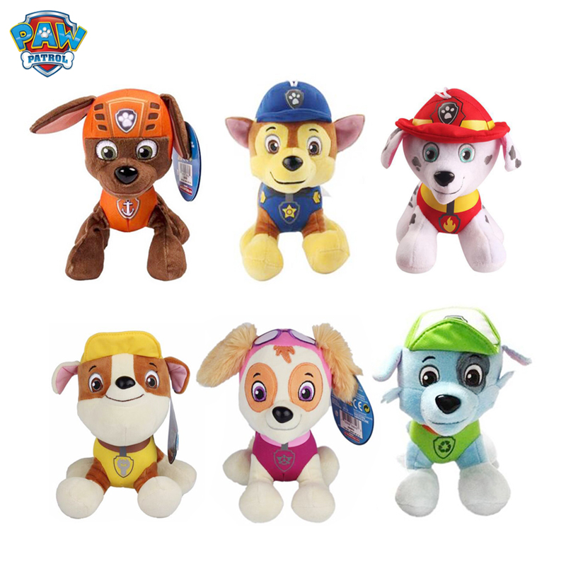 20 Cm Paw Patrol Dog Marshal Rocky Chase Skye Stuffed Plush Doll Anime Kids Toys Action Figure Plush Doll Model Stuffed Toy Gift
