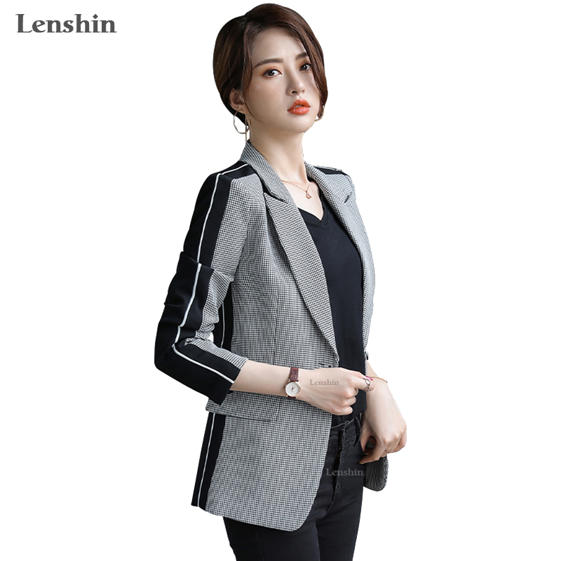 Lenshin Women Elegant Plaid Jacket With Pockets Blazer Fashion Keep Slim Single Button Office Lady Contrast Color Coat Outwear