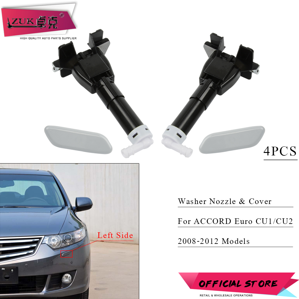 ZUK 4PCS Headlight Headlamp Washer Nozzle Actuator & Cover Cap For <font><b>HONDA</b></font> <font><b>ACCORD</b></font> Euro SPIRIOR CU1 CU2 2008 <font><b>2009</b></font> 2010 2011 2012 image