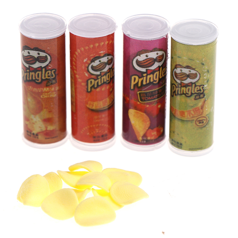 4Pcs//set 1:12 Dollhouse Miniature Food Potato Chips Bottles Dolls Kitchen F PYYY