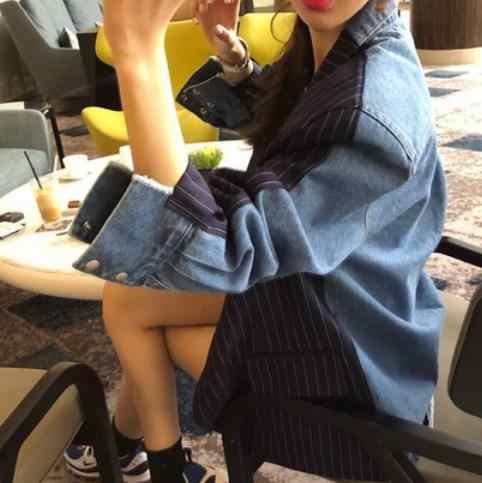 שיק טלאי ג 'ינס פסים בלייזר טור כפתורים כפול כיסים מחורצים מעילי נשים מזדמן הלבשה עליונה נשי Blaser חולצות 2020 LJ64