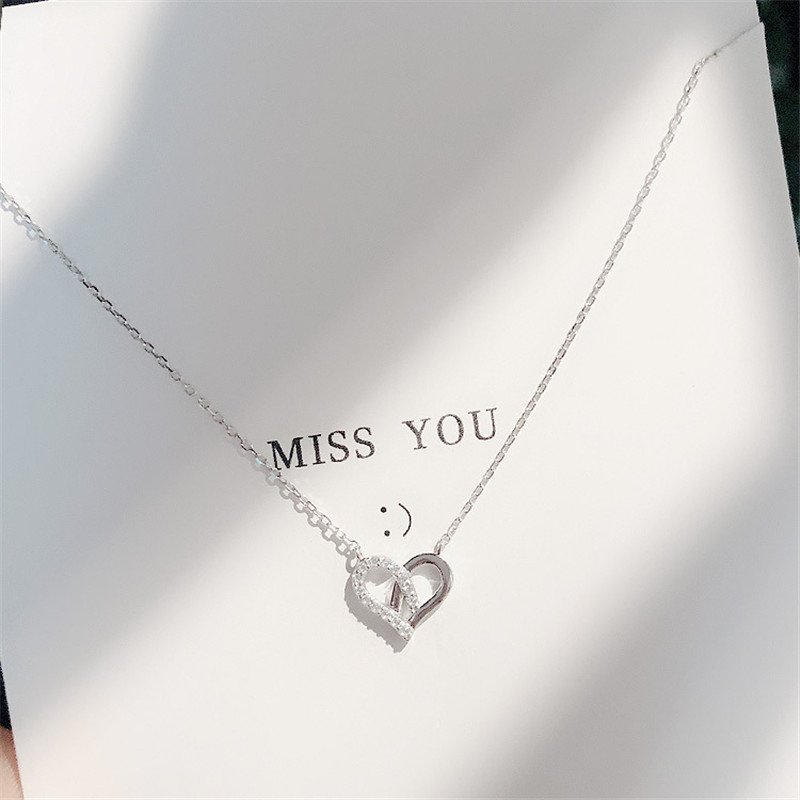 Korean Simple Silver Plated Hollow Cubic Zirconia Heart Short Clavicle Necklaces for Girl Women Necklace