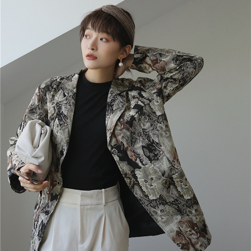 CHEERART Animal Print Blazers Women High Fashion Blazers And Jackets Quilted Overcoat Ladies Blazers Coat Designer Blazer Luxury