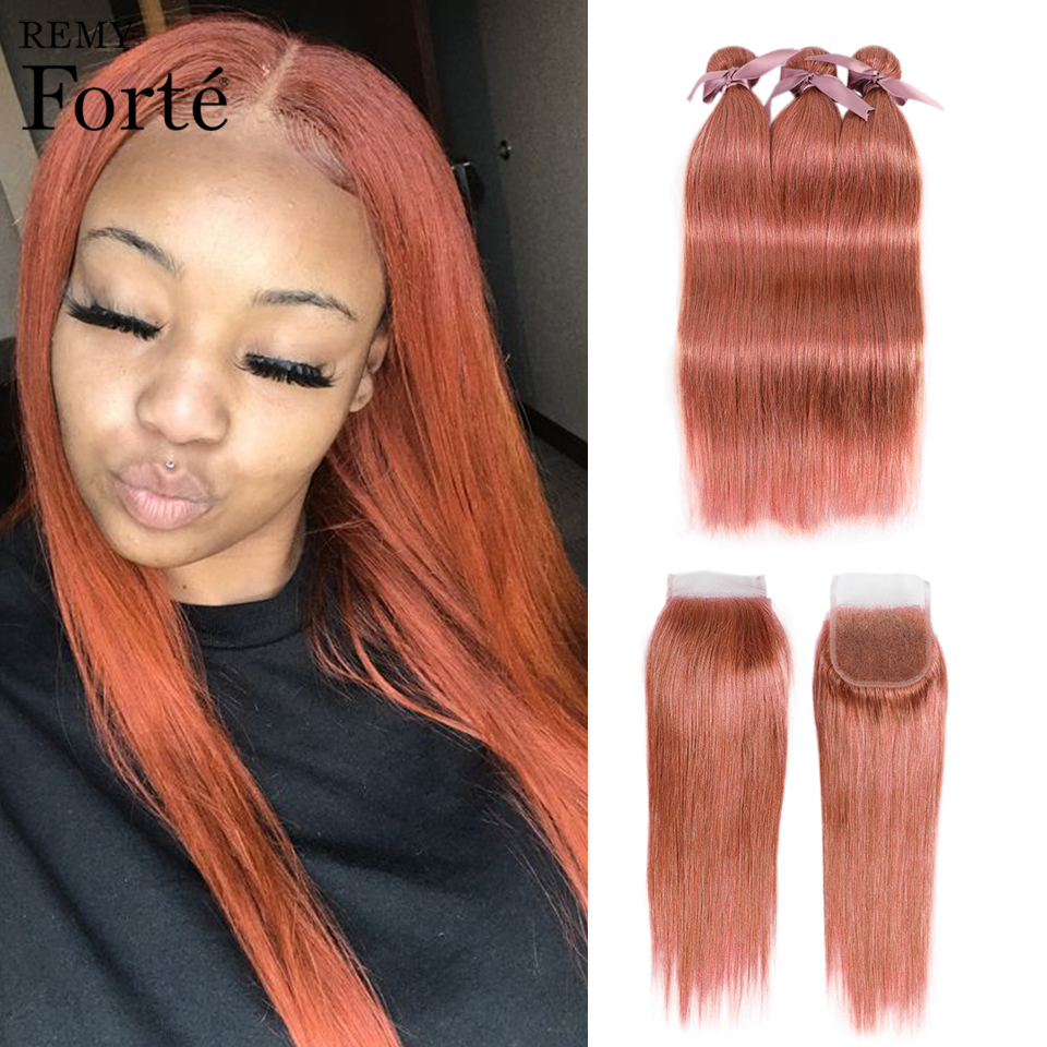 Remy Forte Straight Hair Bundles With Closure Colored Blonde Bundles With Closure Brazilian Hair Weave Bundles 3/4 Hair Bundles