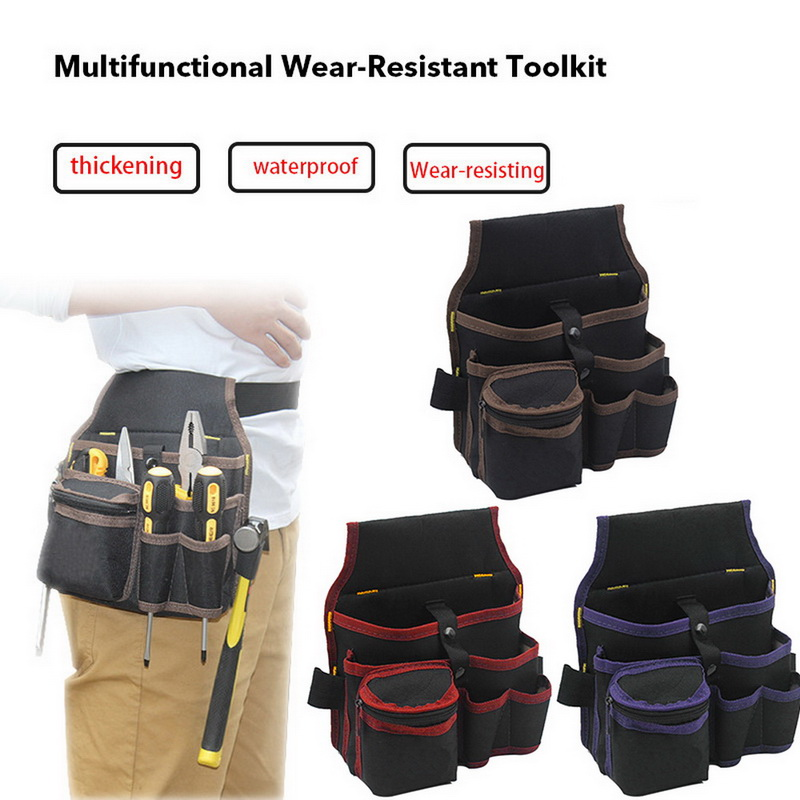 Urijk 1Pc High Capacity Tool Bag Waist Pockets Electrician Tool Bag Oganizer Carrying Pouch Tools Bag Belt Waist Pocket Case