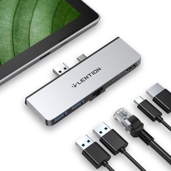 Lention USB 3.0 HUB Multi USB na Port USB3.0 kompatybilny z HDMI/stacja dokująca RJ45 dla Microsoft Surface Pro 7 przejściówka rozgałęziająca PD Charge