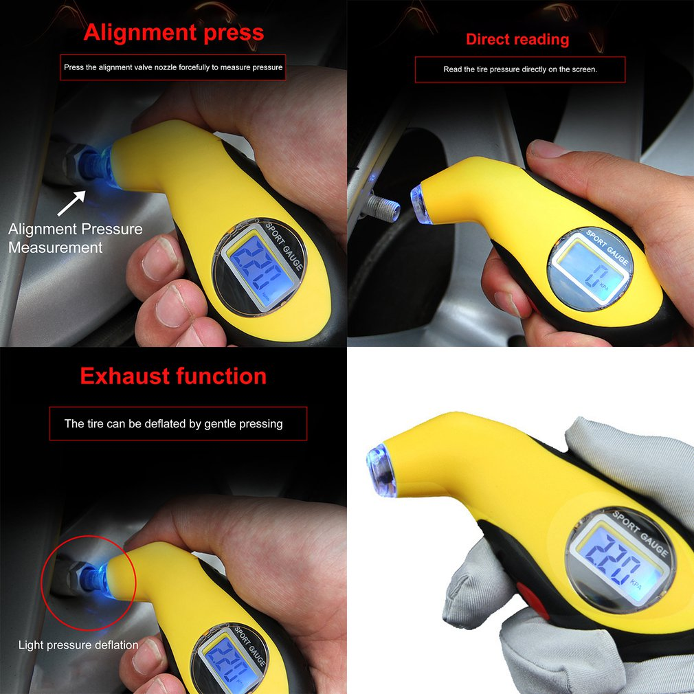 Car Electronic Digital LCD Tire Pressure Gauge Meter 0-100 PSI Backlight Tyre Manometer Barometers Tester Tool
