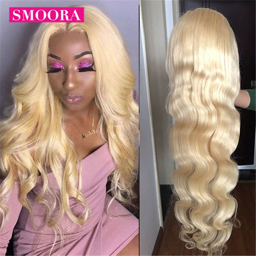 613 Human Hair Lace Frontal Wigs Brazilian Bodywave 613 Blonde Lace Front Wig 30 inch Pre Plucked Glueless Transparent