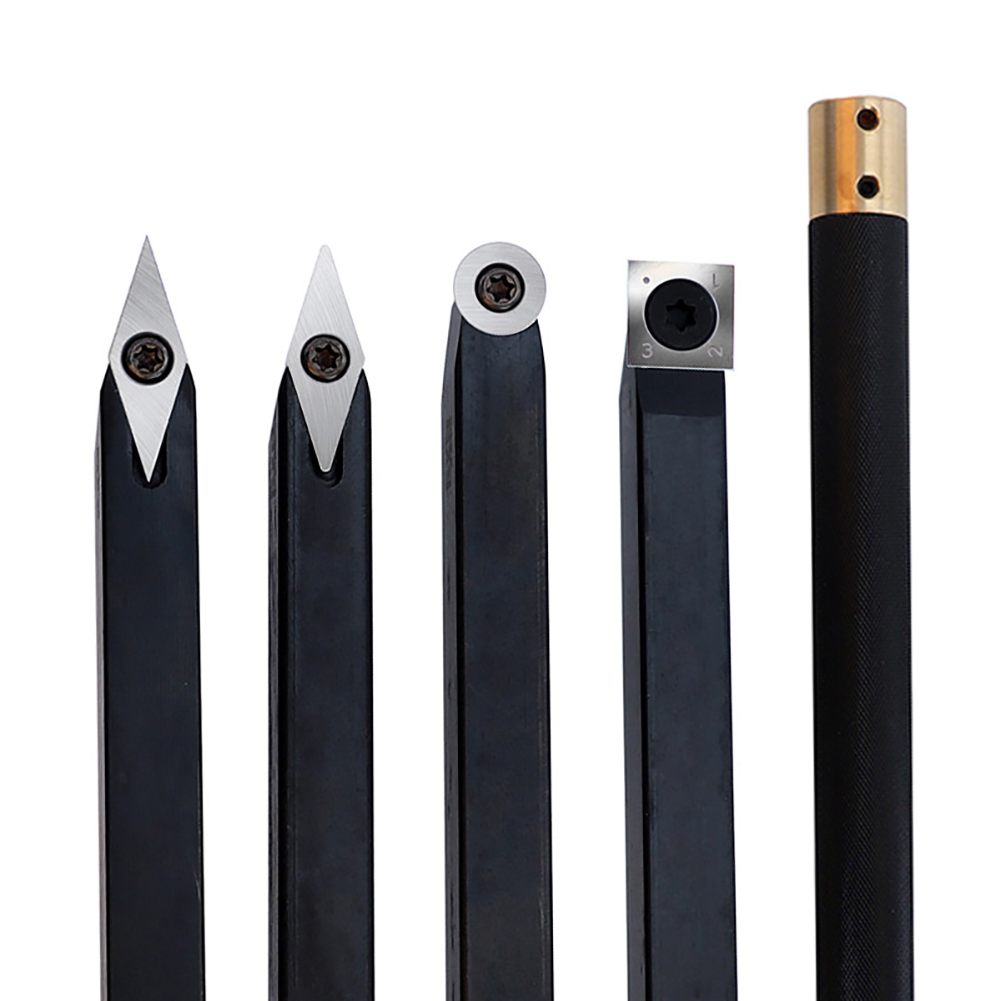 5pcs Wood Turning Tool Chisel Changeable Tungsten Carbide Blades Tip Lathe Tool Insert Cutter Can Match Woodworking Tool