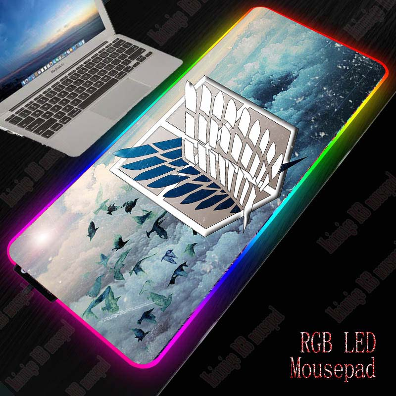 XGZ Attack on Titan RGB Computer Mousepad LED Backlight Gaming Mouse Pad Gamer Large Mause Pad USB for Keyboard Mice PC Desk Mat 1