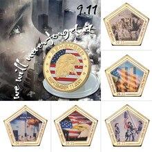 WR США память металлическая позолоченная монета американский герой 11 сентября вызов монета памятная США Золотая монета для сувенира