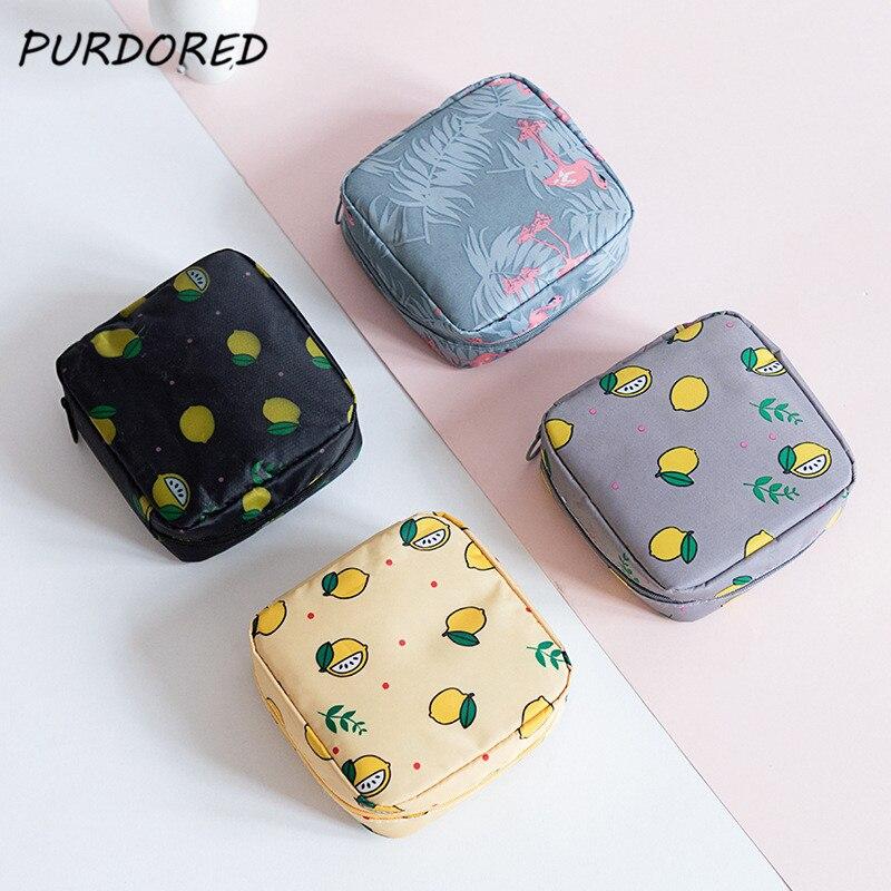 PURDORED 1 Pc Printed Cartoon Cosmetic Bag Women Sanitary Napkin Storage Organizer Waterproof Travel Makeup Pouch Lipstick Case