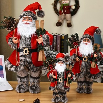 30/45/60cm Christmas Large Santa Claus Dolls Ornaments Standing Figurine Doll Home Decoration Kids Gift