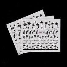 Autocollants pour ongles Style Tropical, 4 pièces, papier transfert d'eau, cocotier, beauté 3D, décoration d'ongles, DIY bricolage