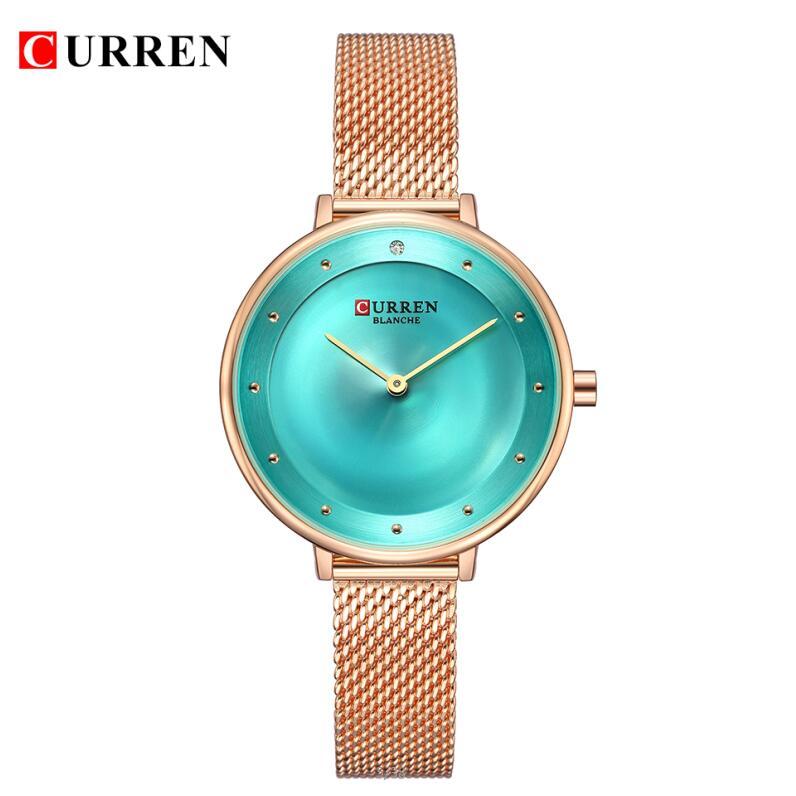 Женские часы CURREN, роскошные женские часы, водонепроницаемые, розовое золото, сталь, сетка, кварцевые женские часы, брендовые наручные часы