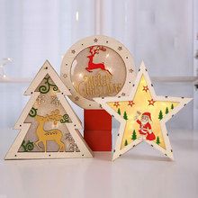 LED Plaque Sign Santa Claus Stars Christmas Teer Gifts Festival Wooden Luminous Home Decor Indoor Outdoor Party Christmas Light цена 2017