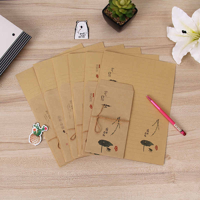 Wisdom Star Po Retro Kraft Envelope Nostalgic Love Letter Set Confession Creative Writing Paper Stationery Supplies Wholesale