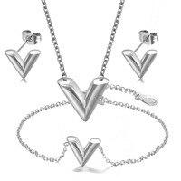 Fashion new V letter necklace earrings V shaped bracelet Titanium steel jewelry set