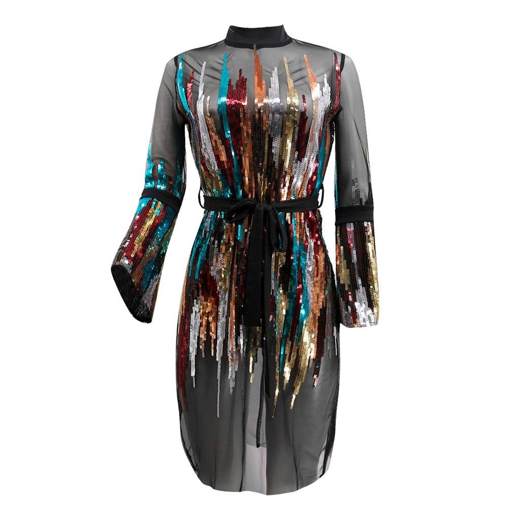 NoEnName женское платье достаточно в наличии модный ночной клуб Вечерний сексуальный клубный сетчатый цвет платье с блестками зимнее платье femme 2019 новое поступление
