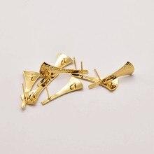 2 pair/Lot 28mm*11mm 18K Brass Gold Plated Scalloped Stud Earrings Golden Earrings Base Linker Diy Making Accessories JA0102