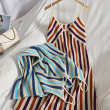 Fashion sexy casual color matching striped suspender Dress womens spring summer new Korean base knitted long dress women vestido