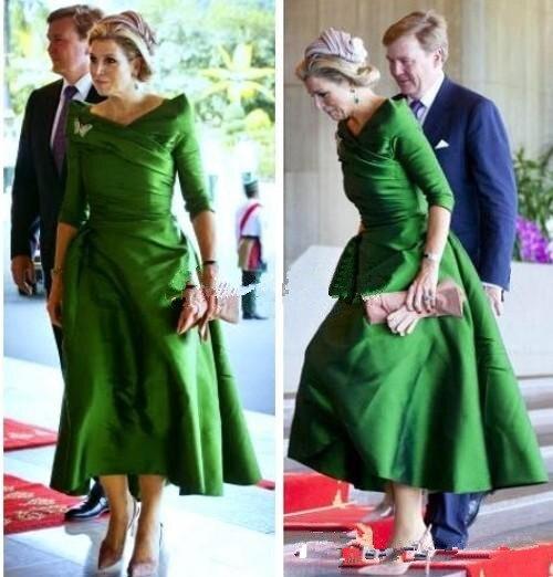 Vintage Short Mother Of The Bride Dresses Long Sleeves Tea Length 2019 Vestido De Madrinha Princess Formal Party Evening Gown