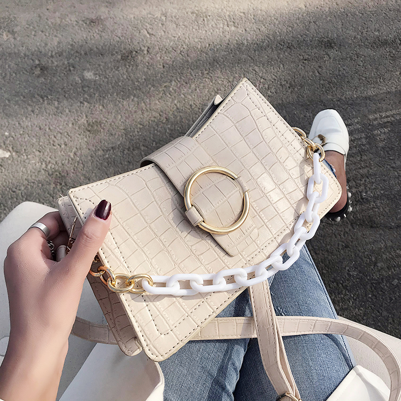 Stone Pattern PU Leather Shoulder Crossbody Bags For Women 2020 Fashion Chain Design Handbags And Purses Lady Totes