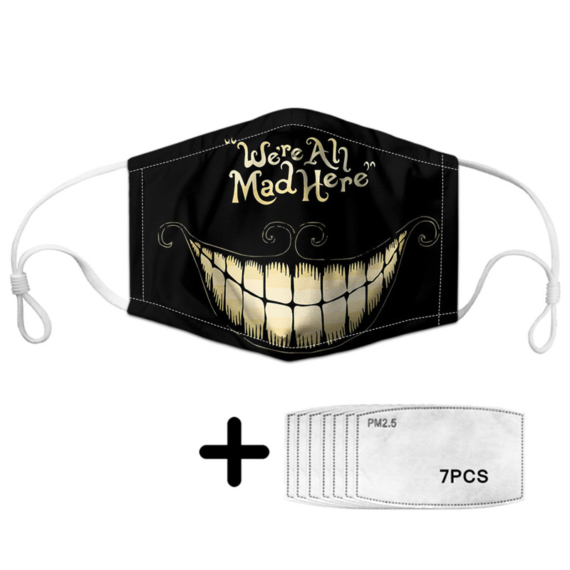 2020 Cute Cheshire Cat Print Face Mouth Masks With 7pcs PM2.5 Anti Air Dust Mask For Women Mascherine Evil Smile Pattern Custom