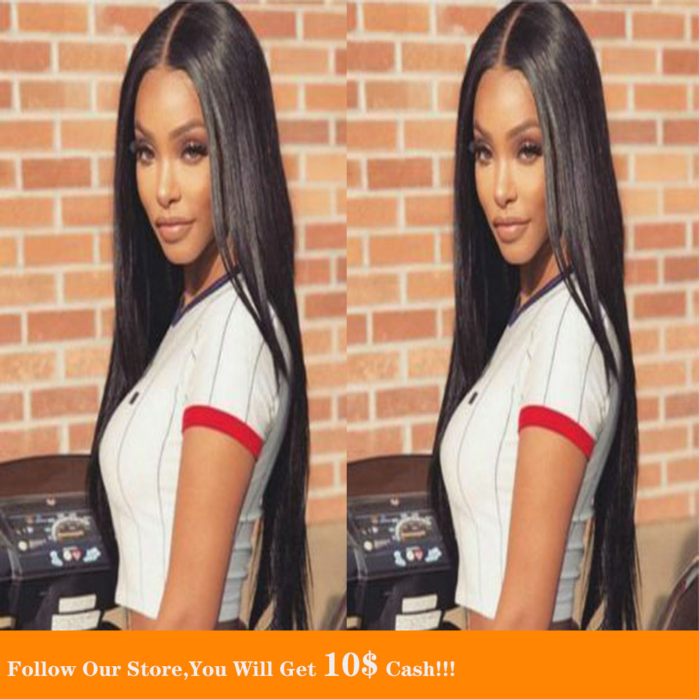 Long Black Fake Scalp 13*6 Human Hair Wigs Bleached Knots Free Part Silky Malayia Wig Remy Hair Natural Hairline For Black Women