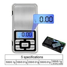 1 шт Мини цифровые весы 100/200/300/500g 0,01/0,1 г Высокая точность Подсветка Электрический карман для бриллиантовых ювелирные украшений Вес для Кухня