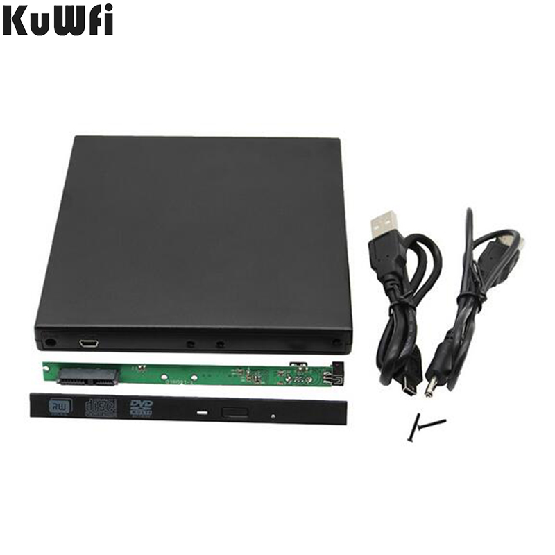 KuWFi 12.7mm USB 2.0 SATA External Drive DVD CD DVD-Rom Case Drive Box For Laptop Notebook External Portable Hard Disk Enclosure