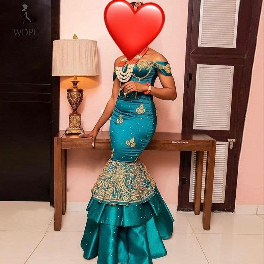Купить женское вечернее платье с юбкой годе открытыми плечами в африканском