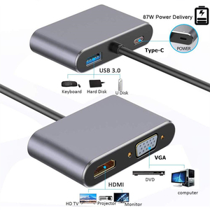 Ранкман Type-C к HDMI 4K VGA USB-C зарядка USB 3,0 концентратор адаптер для MacBook Nintendo Samsung S9 Dex Huawei P20 проектор ТВ