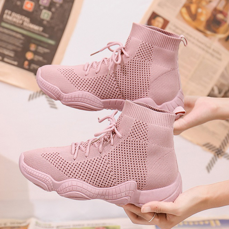 Mesh Sneakers Breathable Women Vulcanized Shoes Pink Lace-Up Solid Flat Platform High 2020 Outdoor Wedges Shoes Woman Shoes
