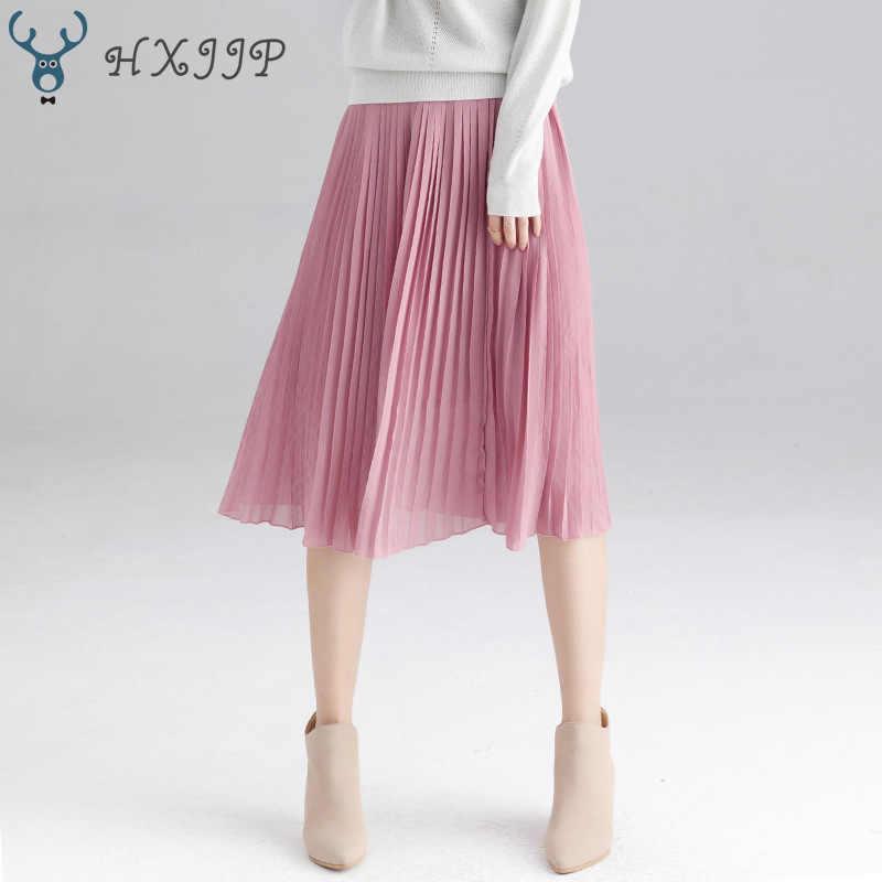 Jesień zima 2019 nowy na co dzień kobiety plisowana spódnica paski długie eleganckie wysokiej talii biały czarny spódnica szyfonowa kobiet